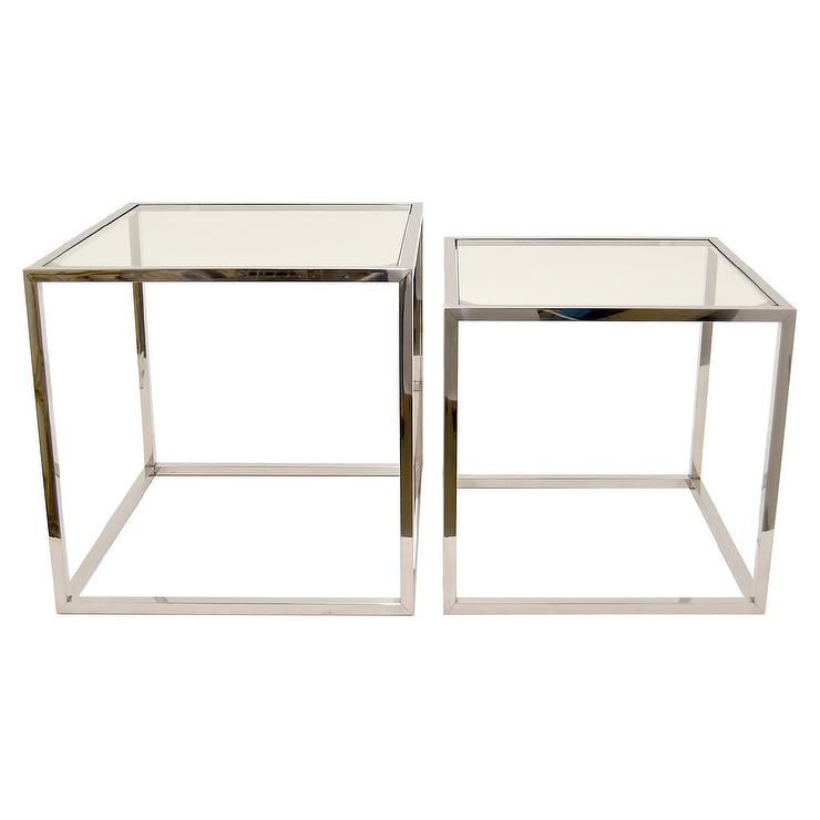 Three Hands Square Glass Chrome 2 Tables Set