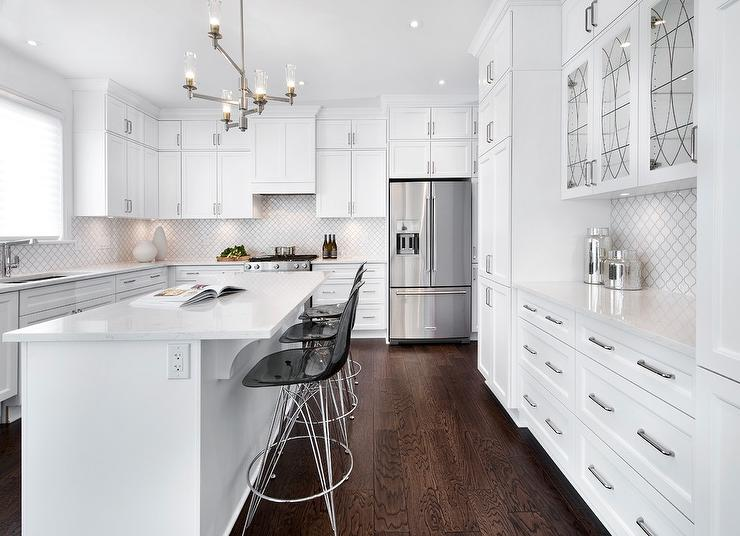 Sleek White Kitchen With Leaded Glass Cabinet Doors Transitional