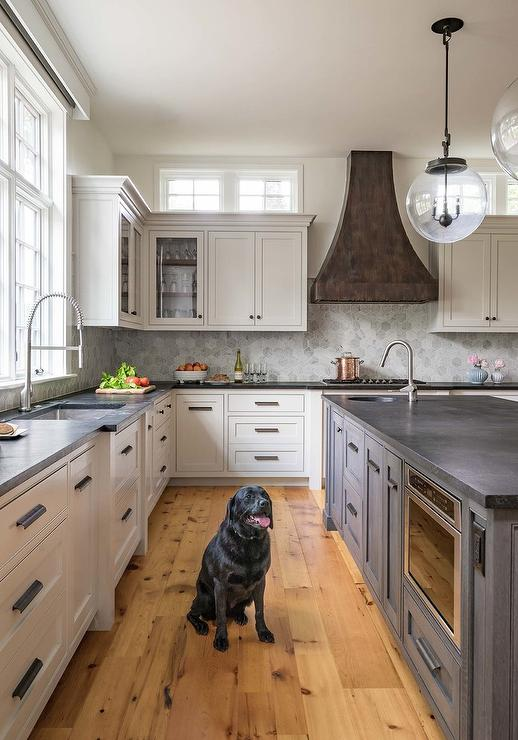 Dark Gray Oak Island With Pine Wood Floors Transitional Kitchen