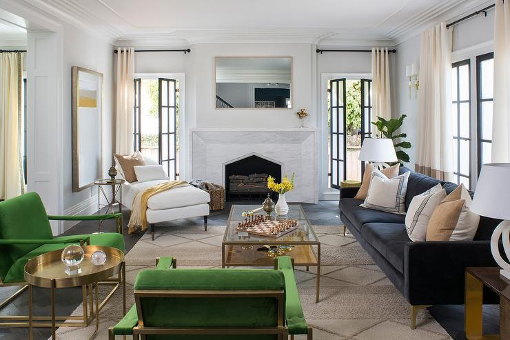 Dark Blue Sofa With Emerald Green Chairs Transitional Living Room