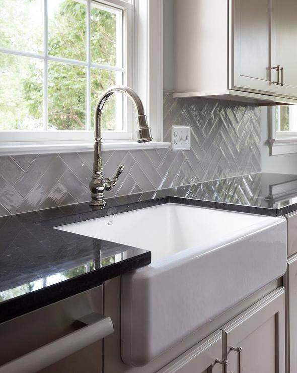 Herringbone Backsplash Kitchen Dark Cabinets