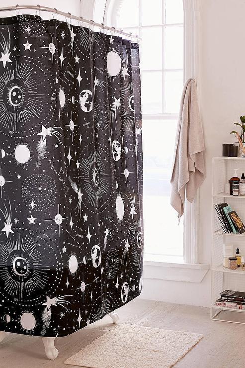 Deny Black White Solar System Shower Curtain