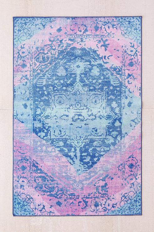 Blue Ornate Distressed Rug
