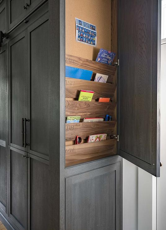 Kitchen Cabinet End Panel With Custom Shelves Transitional Kitchen