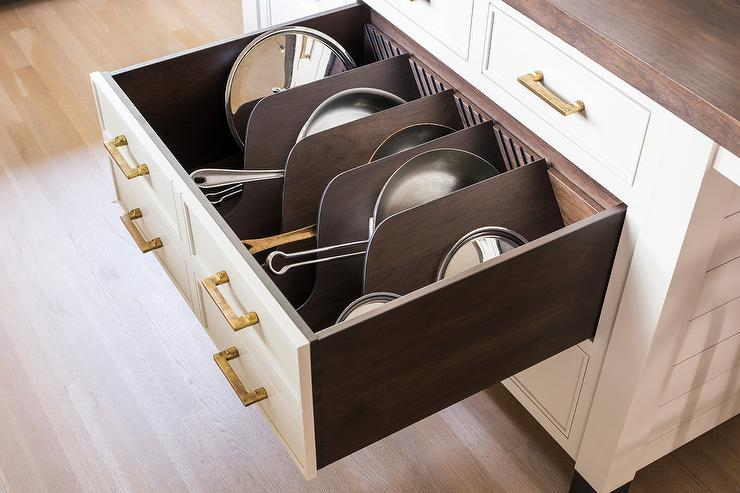 Custom Pot And Pan Lid Drawer With Dividers Transitional