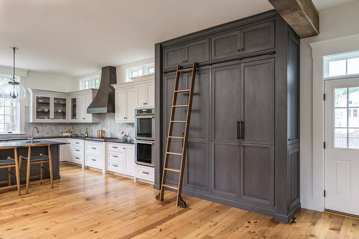 Dark Gray Oak Cabinets With Ladder On Rails Transitional Kitchen
