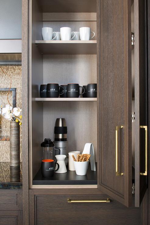 Brown Oak Folding Cabinet Door With Brass Pull