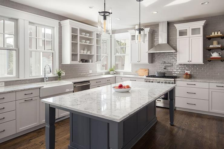 Gray Glazed Tiles With White Shaker Cabinets Transitional Kitchen