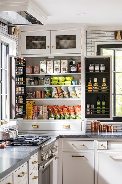 Pantry Cabinet Sitting on Countertop - Transitional - Kitchen