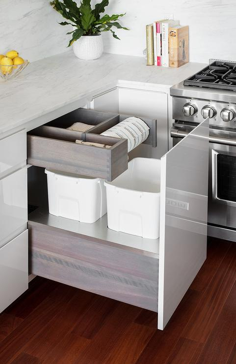 Island Countertop Trash Chute Transitional Kitchen
