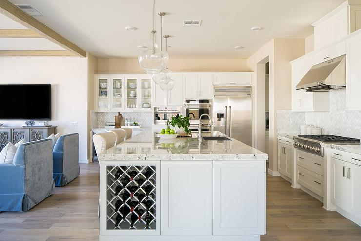 kitchen island with wine storage white and gray granite transitional kitchen sherwin 8280