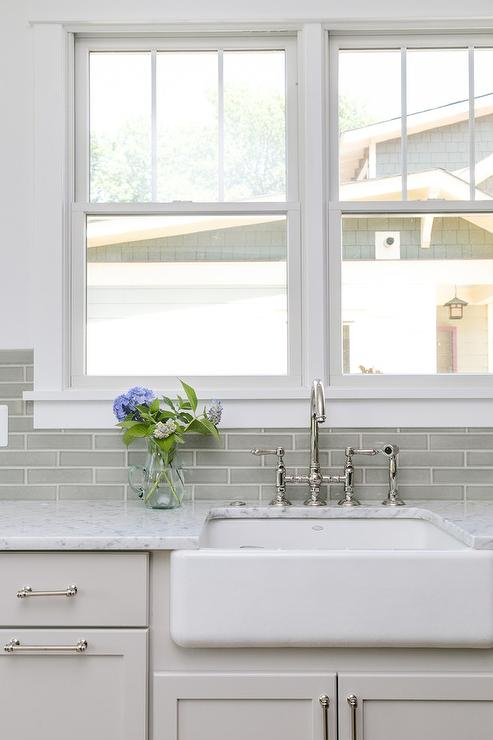 Gray Green Glazed Tiles With Farmhouse Sink Transitional Kitchen