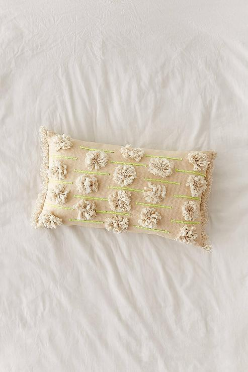 Green Pillow With Stitched Border Pieces