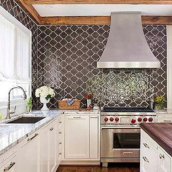 Black Lazed Arabesque Kitchen Backsplash Tiles Design Ideas