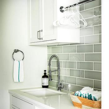 Glossy Gray Brick Laundry Room Backsplash Tiles Design Ideas