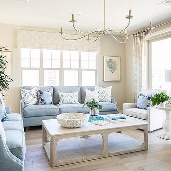 Powder Blue Sofas With Light Gray Oak Coffee Table