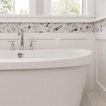 River Rock Border Bathroom Tiles Design Ideas