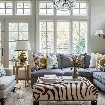 Gray Sectional With Zebra Print Ottoman View Full Size Gorgeous Living Room