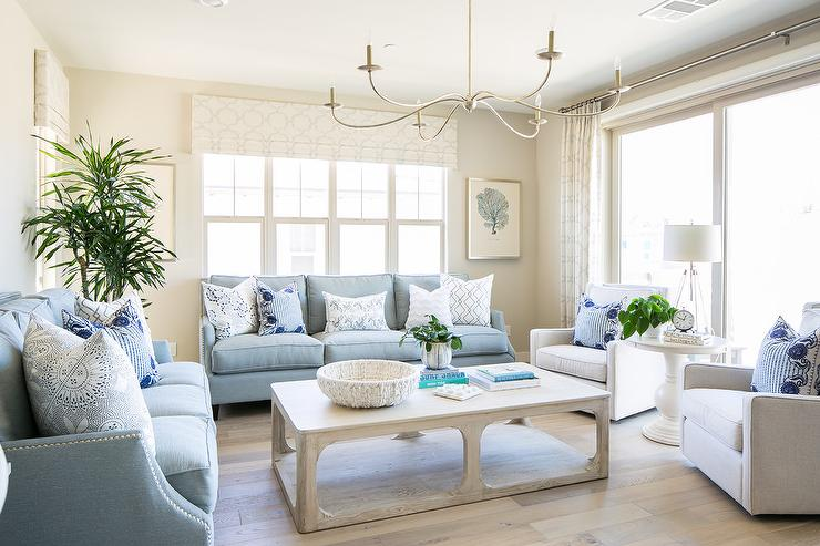 Powder Blue Sofas With Light Gray Oak Coffee Table Transitional Living Room
