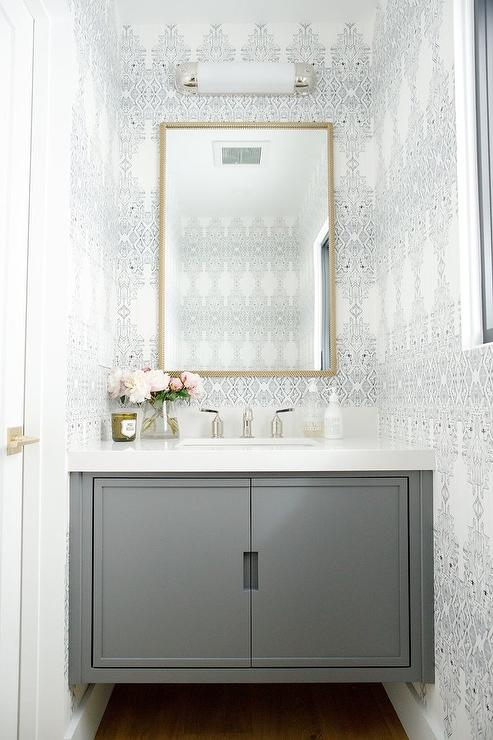 Black And White Powder Room Wallpaper With Gray Floating