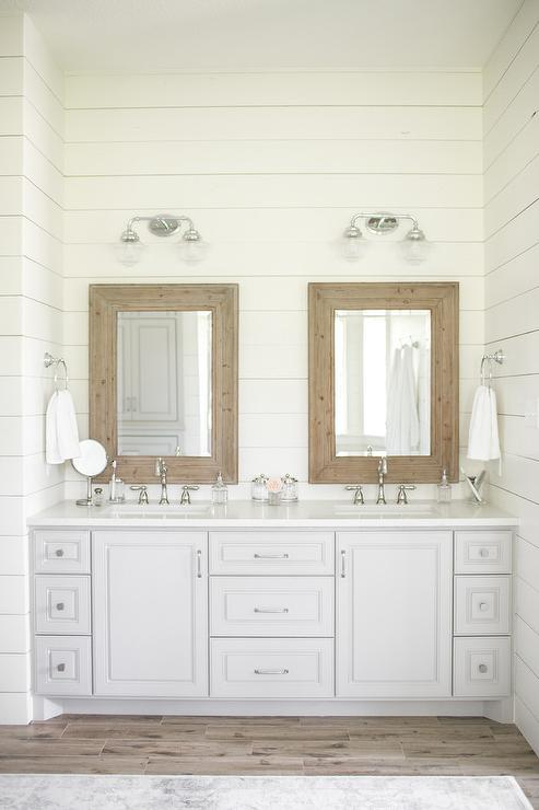 Rustic Wood Beveled Mirrors With Light Gray Dual Bath Vanity Cottage Bathroom