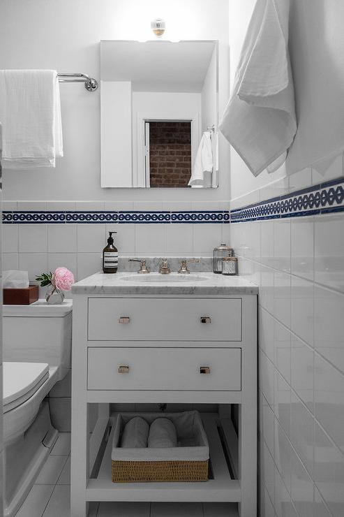 Cottage Bathroom With Black And White Cement Quatrefoil