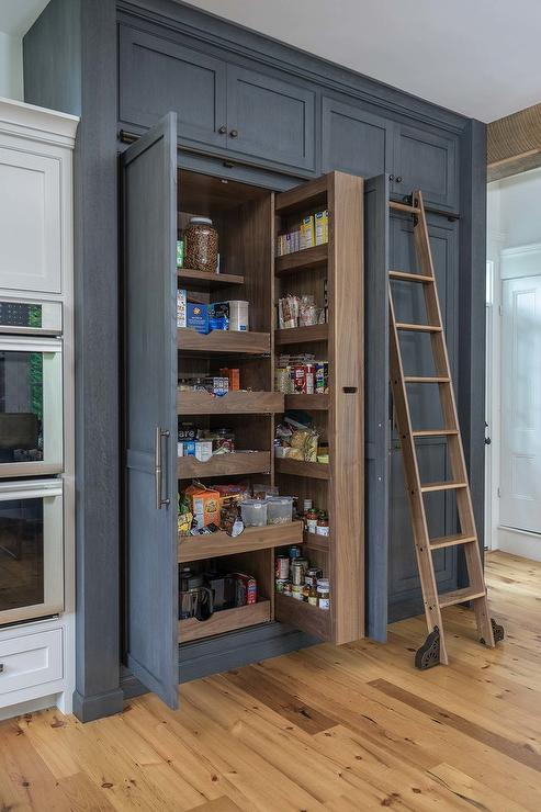 Dark Gray Wood Pantry Cabinets With Pull Out Shelves