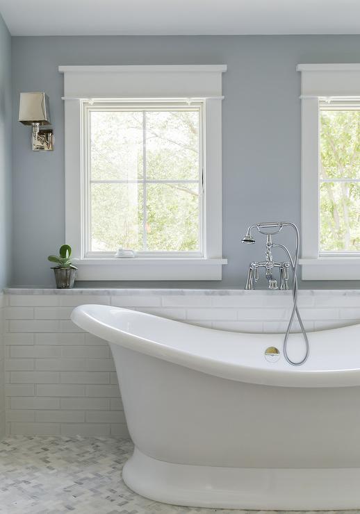 Marble Tub Shelf With Beadboard Trim Transitional Bathroom