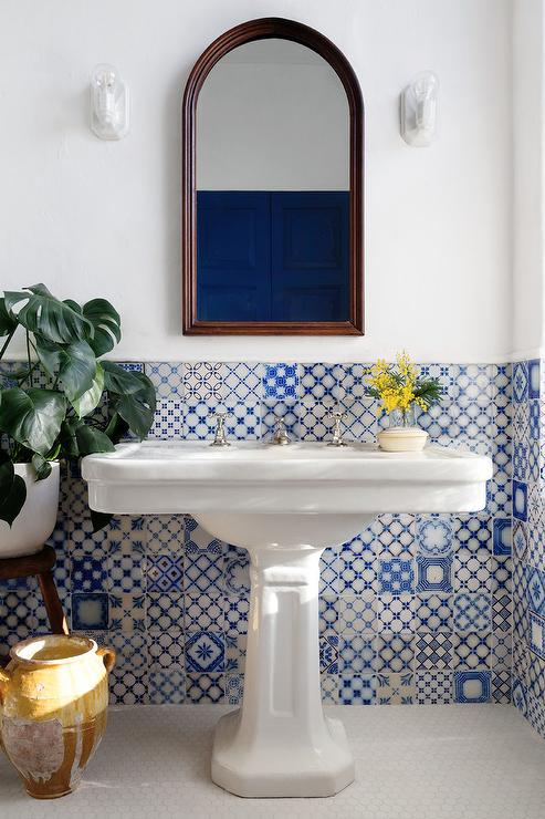 White And Blue Moroccan Style Bathroom