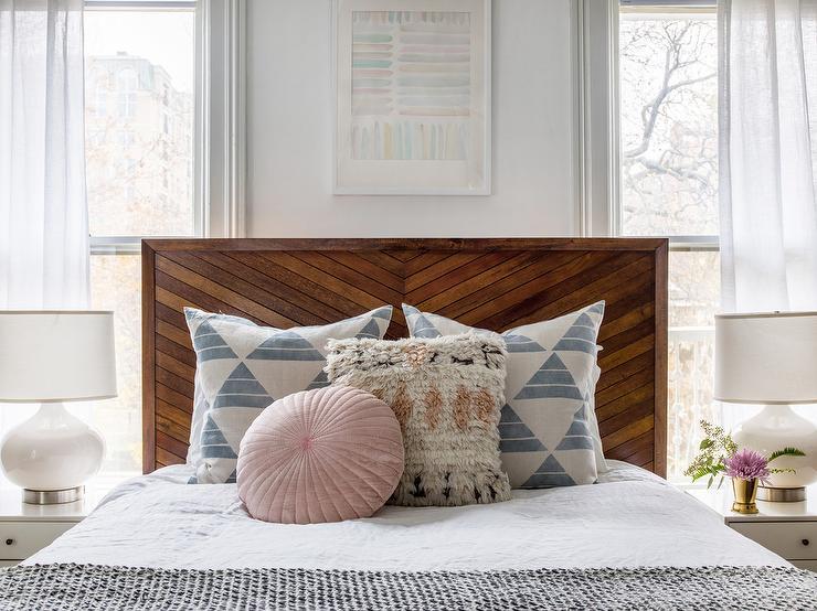Wood Plank Headboard Cottage Bedroom