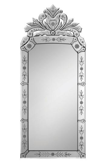 Venetian Etched Floral Glass Crown Mirror