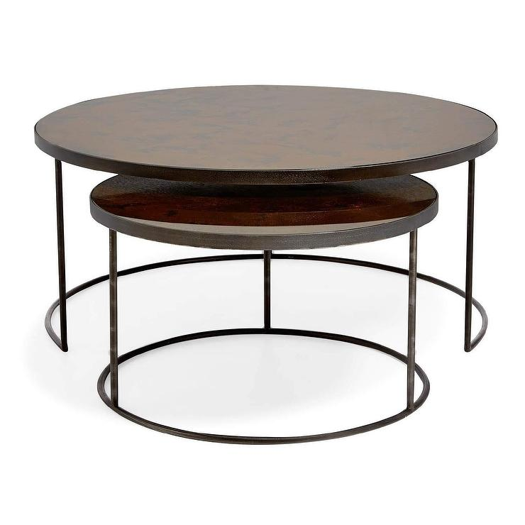 Bronze Nesting Coffee Tables: Flouressa 3 Piece Round Mirror Iron Nesting Tables