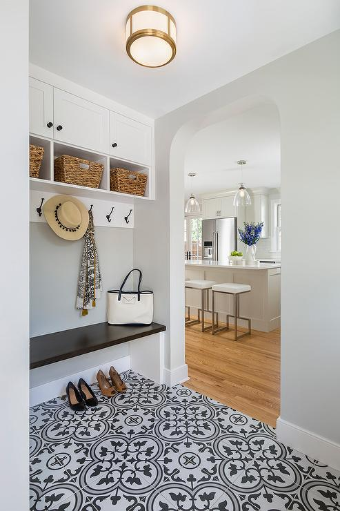 Mudroom Opens To Laundry Room With Barn Door