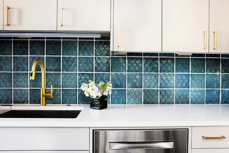 Peacock Blue Moroccan Style Backsplash Tiles Contemporary Kitchen