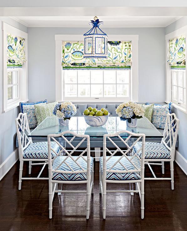 Fabulous Blue Breakfast Nook With Blue Pagoda Lantern Transitional Download Free Architecture Designs Salvmadebymaigaardcom
