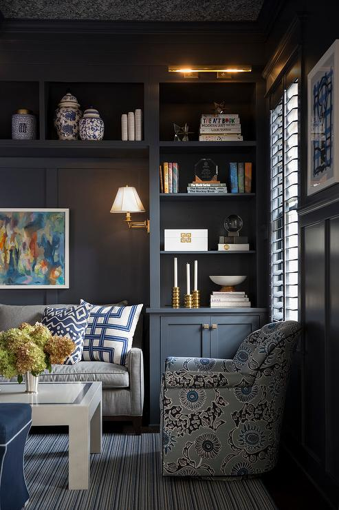 Gray Paneled Den Transitional Den Library Office