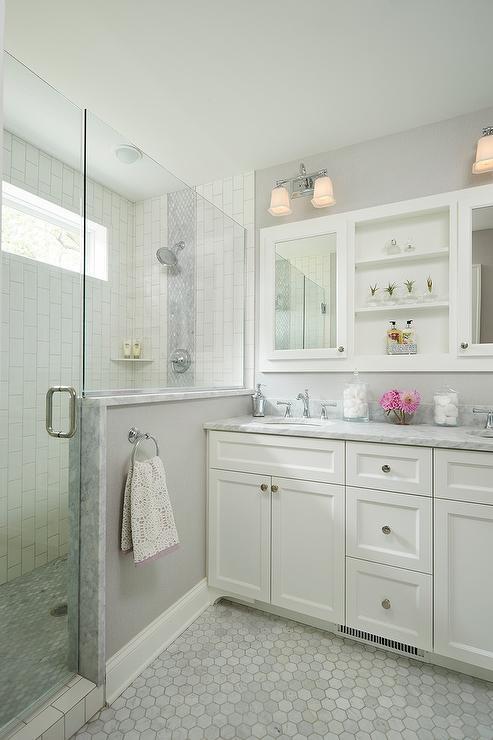 Vertical Marble Backsplash Tiles With White Grout Modern
