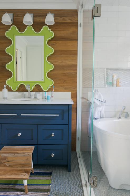 White And Green Boys Bathroom Design Transitional Bathroom