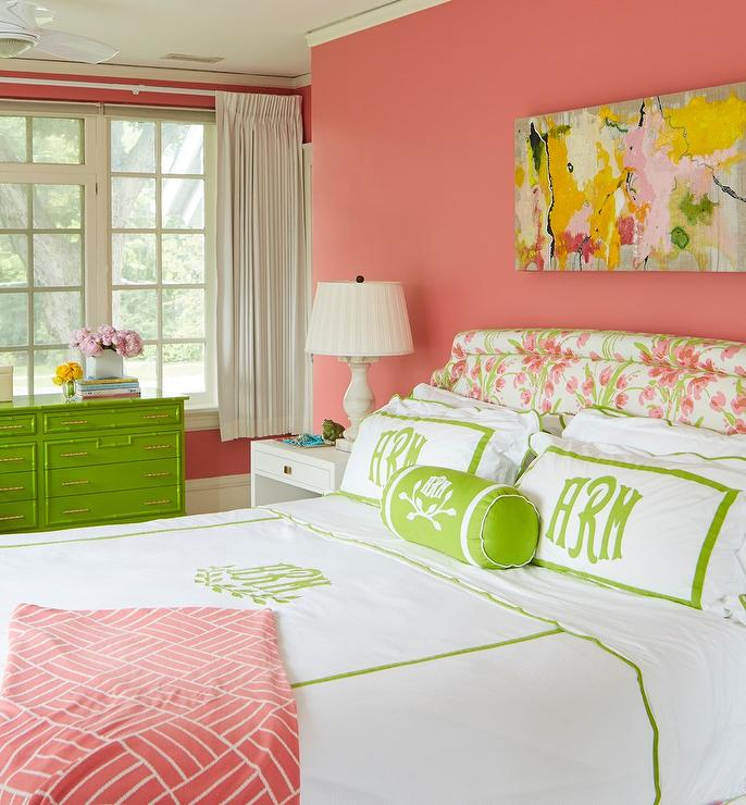 Salmon Pink and Green Girls Bedroom - Transitional - Girl\'s Room