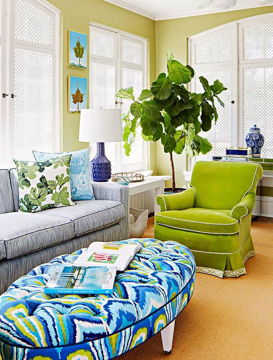 Superb Oval Green And Blue Tufted Ottoman As Coffee Table Camellatalisay Diy Chair Ideas Camellatalisaycom