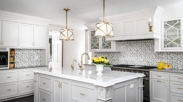 White And Gold Drum Pendant Lights Over Light Gray Island Transitional Kitchen