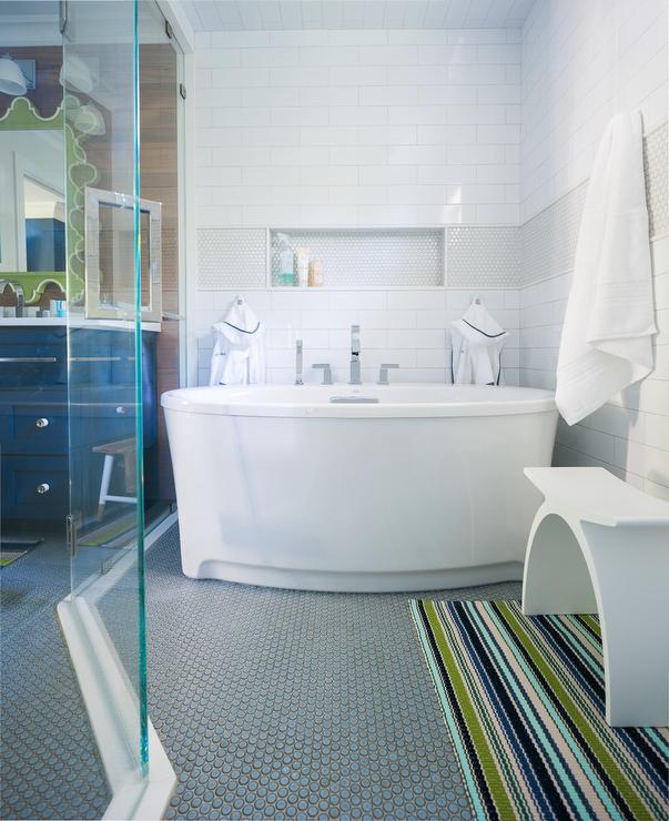 Oval Bathtub with Blue Penny Tiles - Transitional - Bathroom