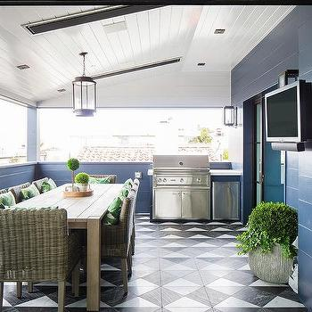 Glossy Dark Blue Shiplap Walls In Covered Patio