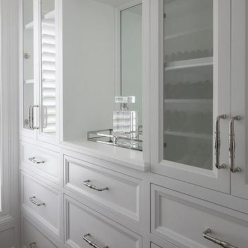 Custom Closet With White Built In Drawers
