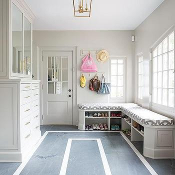 L Shaped Mudroom Bench With Stacked Shoe Shelves