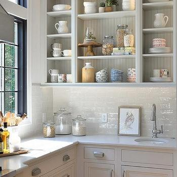 White Glazed Subway Tiles With Open Kitchen Shelving
