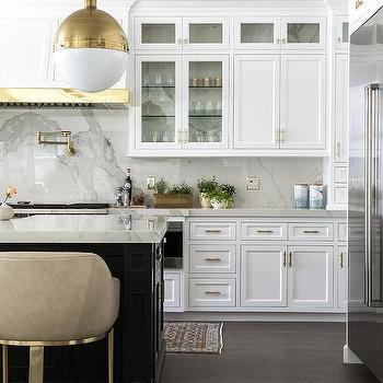 White Wood Range Hood With Brass Trim