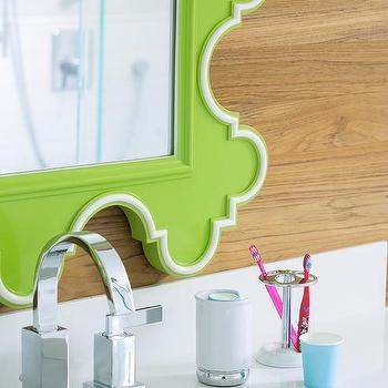 white and green boys bathroom design - transitional - bathroom