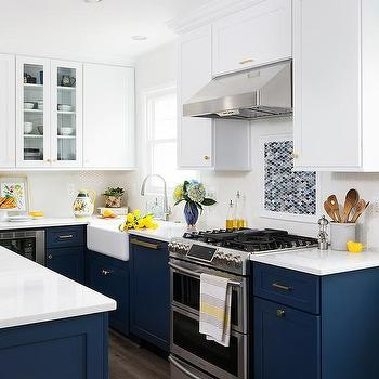 White Upper Cabinets And Brown Lower Cabinets
