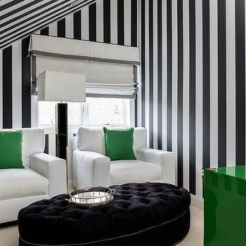 Black And White Striped Living Room Ceiling Design Ideas